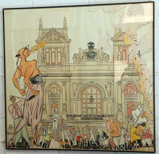 Boceto de la falla de la plaça del País Valencià (Valencia) de 1987, dibujado por Sento Llobell según una idea de Manuel Vicent.