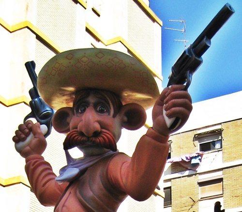Ninot de vaquero (Falla Els Lleons-Poeta Mas y Ros 2009)
