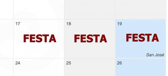 Calendario de la semana fallera 2017