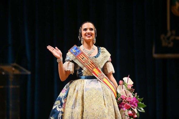 Marina Civera, en su exaltación como fallera mayor de Valencia 2019