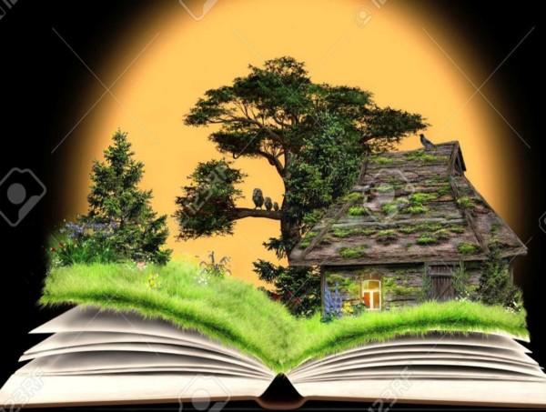 Libro con una casa en la naturaleza, relatos, cuentos