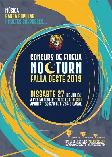 Cartel del concurso de fideuà nocturno de la Falla Oeste (2019)