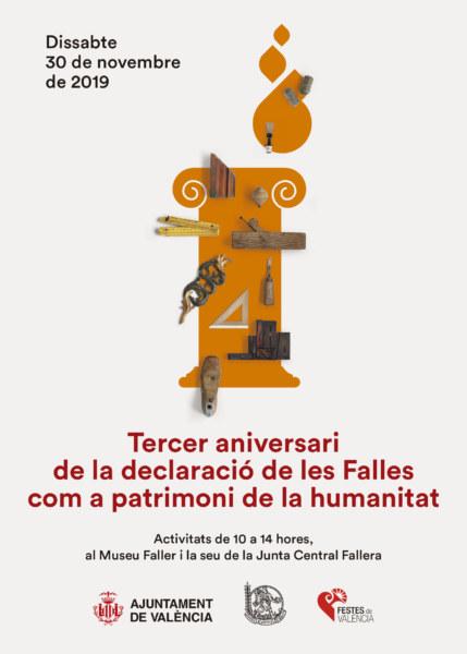 Cartel tercer aniversario de Fallas Patrimonio