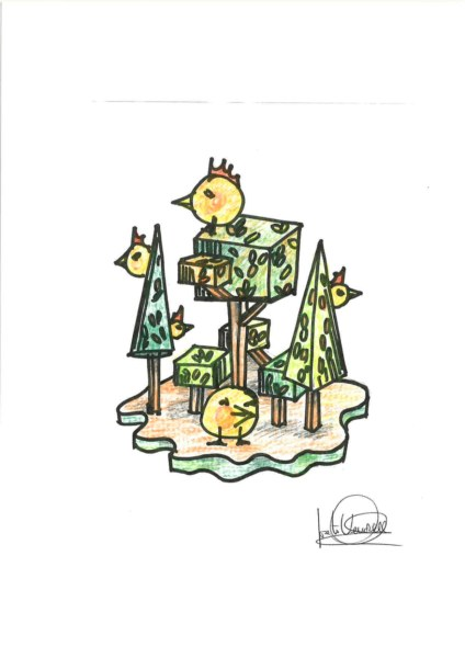 Boceto de la falla Alfara del Patriarca-Periodista Gil Sumbiela infantil 2020