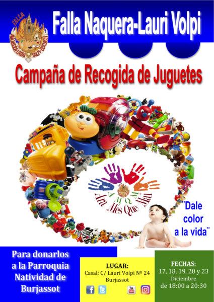 Cartel recogida de juguetes de la Falla Náquera-Lauri Volpi