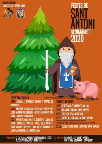 Cartel de las fiestas de San Antonio en Benimàmet 2020