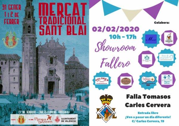 Carteles del mercado tradicional de San Blas (Falla El Clero) y del showroom de Tomasos