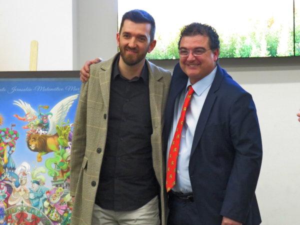 Pere Baenas y José Gallego, en el encuentro con los medios de la Falla Convento 2020