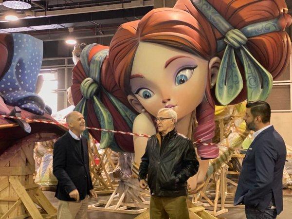 Ribó y Galiana con las fallas en Feria Valencia (foto: Ajuntament de València)