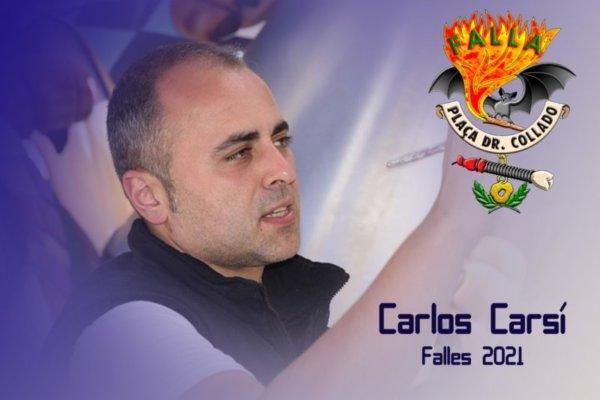 Carlos Carsí, artista de la Plaza del Doctor Collado en 2021