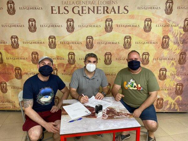 Firma de la Falla Els Generals con sus artistas para 2022