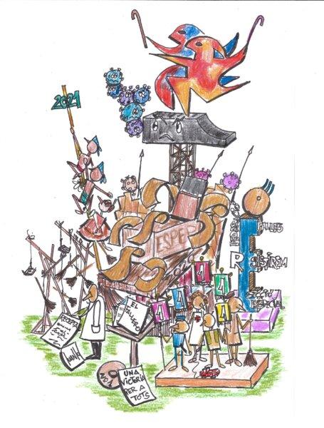 """Boceto de la falla de """"Una festa per a tots"""" de 2020"""