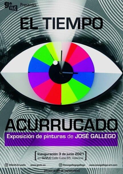 """Cartel de la exposición de José Gallego """"El tiempo acurrucado"""""""