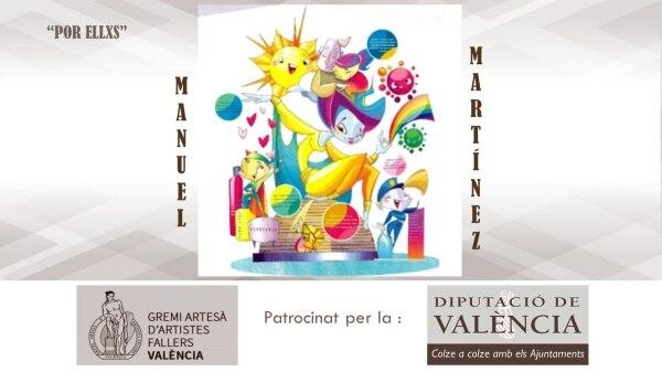 Boceto de una falla para un hospital, subvencionada por la Diputación de València